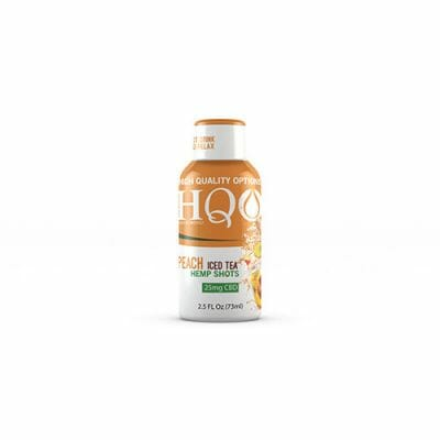 HQO™ Peach Iced Tea Hemp Shot with 25mg of CBD along with vitamins, minerals, and electrolytes