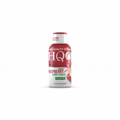 HQO™ Raspberry Lemonade Hemp Shot with 25mg of CBD along with vitamins, minerals, and electrolytes