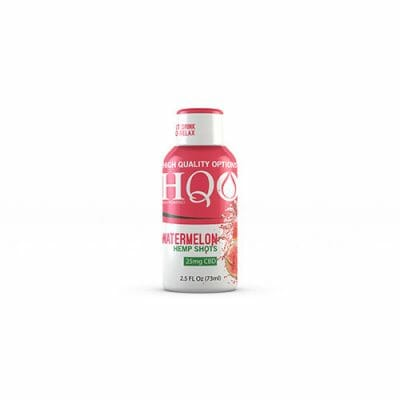 HQO™ Watermelon Hemp Shot with 25mg of CBD along with vitamins, minerals, and electrolytes